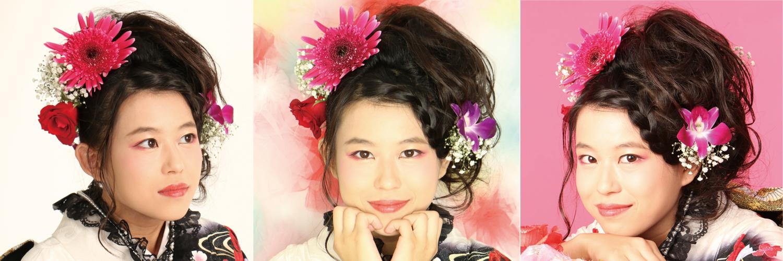 成人式 髪型 振袖 ヘアアレンジ 髪飾り 生花 ガーベラ かすみ草