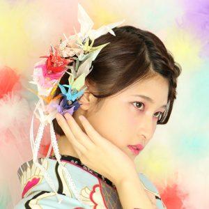 成人式 髪型 振袖 ヘアアレンジ 髪飾り 手作り 折り鶴