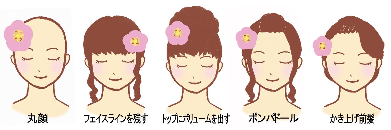 成人式 髪型 振袖 ヘアアレンジ ショートヘア ボブヘア ロングヘア 丸顔 小顔効果