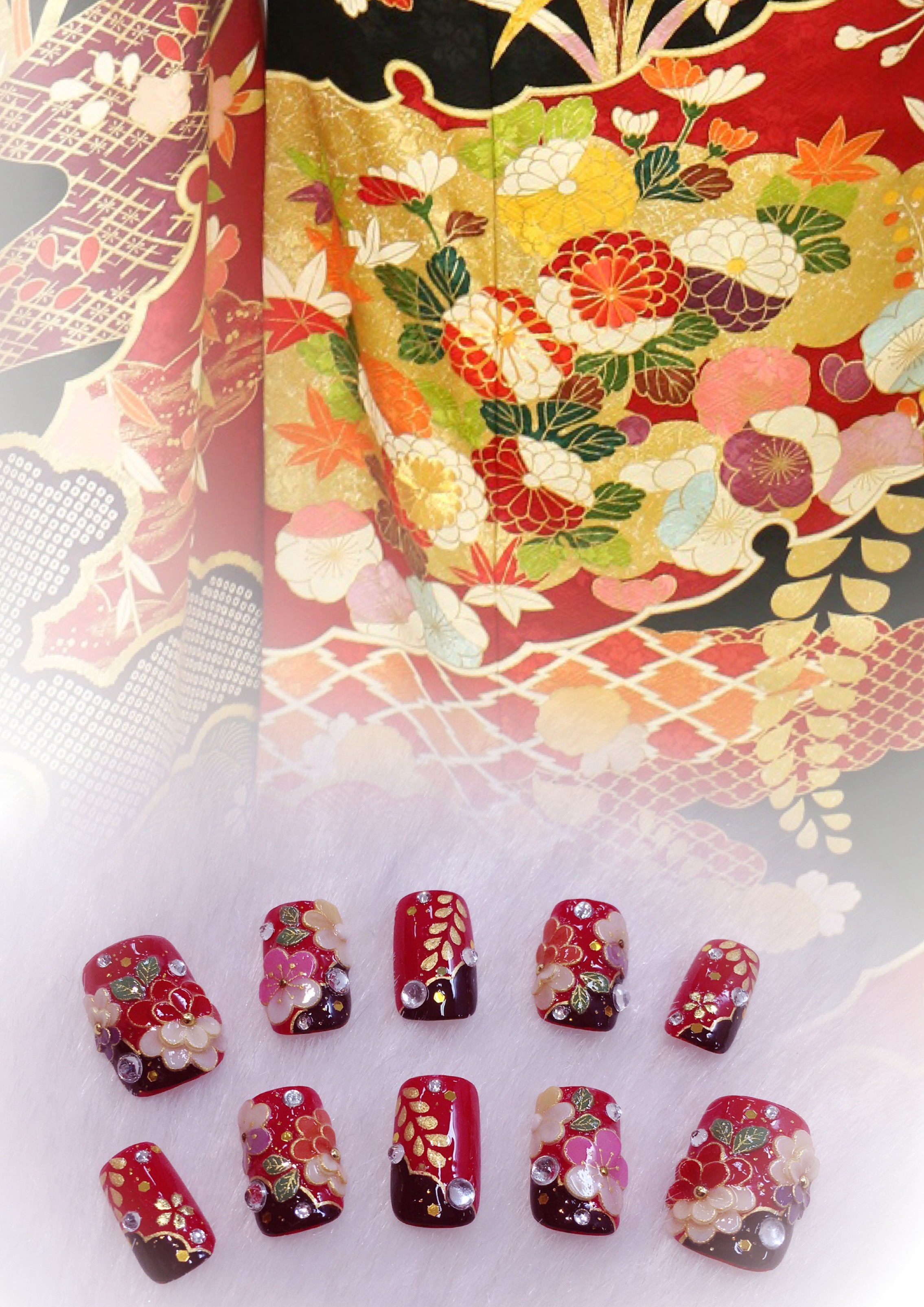 成人式 振袖 ネイル ネイルチップ つけ爪 赤 菊 藤 楓