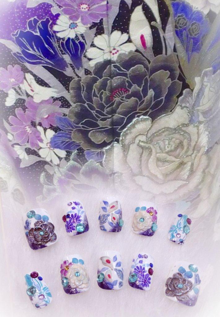 成人式 振袖 ネイル ネイルチップ つけ爪 白 紫 薔薇 牡丹