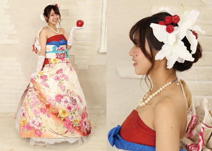 振袖 ファッションショー ドレス着付け 白雪姫